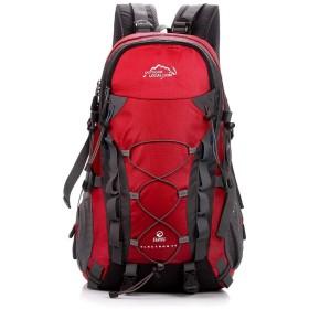 登山バッグ 40l高容量ハイキング旅行バックパック防水キャンプ登山リュックサックデイパックカレッジスクールバックパックユニセックス 登山リュック・ザック (色 : 赤, サイズ : ワンサイズ)