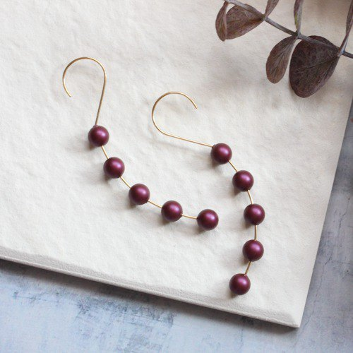 14kgf Swarovski Elderberry Pearl Prima穿孔耳環