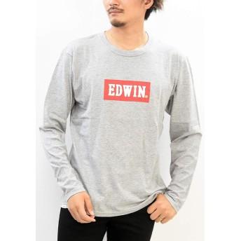 EDWIN エドウィン ロゴプリント 長袖 Tシャツ ET5812 (302:グレー, XLサイズ)