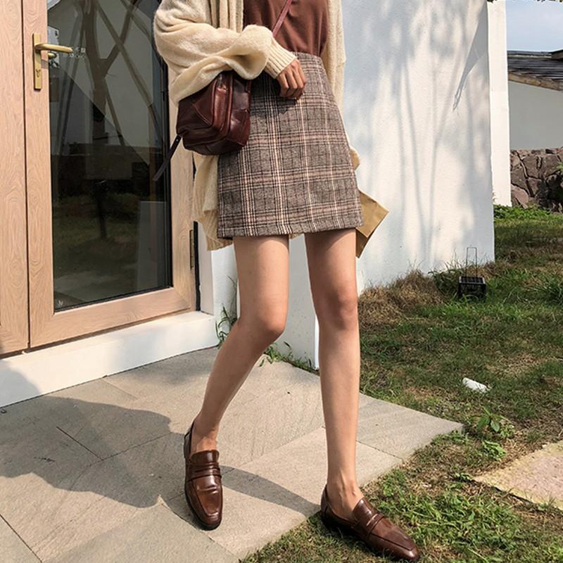 【免運】A字裙 顯瘦 百搭裙子 半身短裙 復古格子高腰半身裙女秋季百搭包臀裙壹步裙