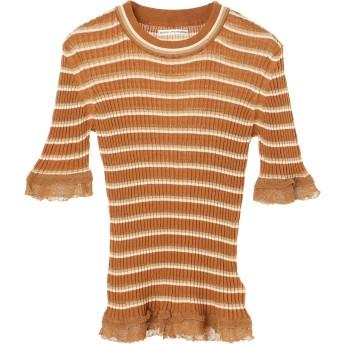 AKANE UTSUNOMIYA ボーダーCS/NT Tシャツ・カットソー,brown