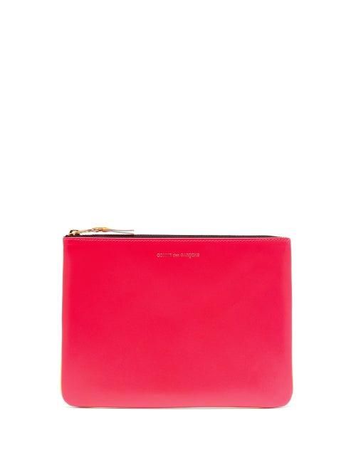 Comme Des Garçons Wallet - Colour-block Leather Pouch - Womens - Pink Multi