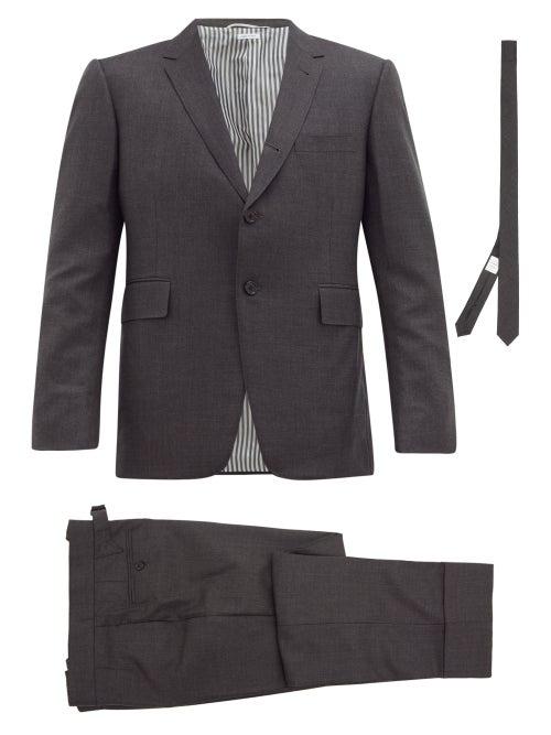 Thom Browne - Single-breasted Wool-fresco Suit And Tie - Mens - Dark Grey