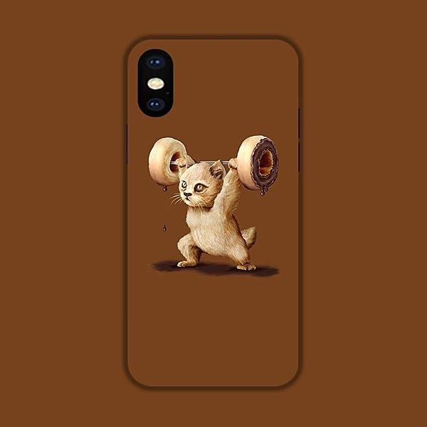 ?貓Phone [01] 手機殼定制 蘋果全型號 甜甜圈舉重