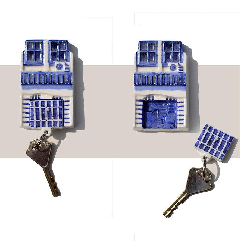 磁性陶瓷鑰匙扣老城收藏藍色方形