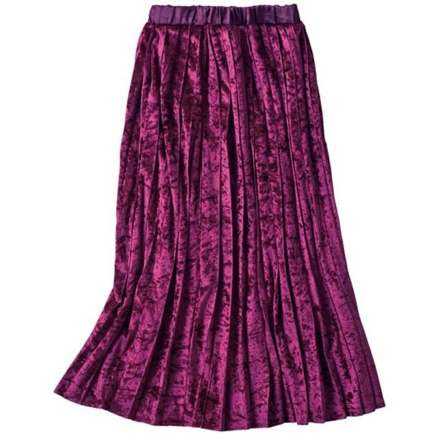 30%OFF【レディース】 ベロアプリーツスカート - セシール ■カラー:バーガンディワイン ■サイズ:M,L,3L,S,LL