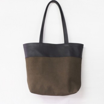 【B品10%OFF】<即納>肩掛けトート(黒+カーキ)100%RealLeather/M/山羊+牛革/T013