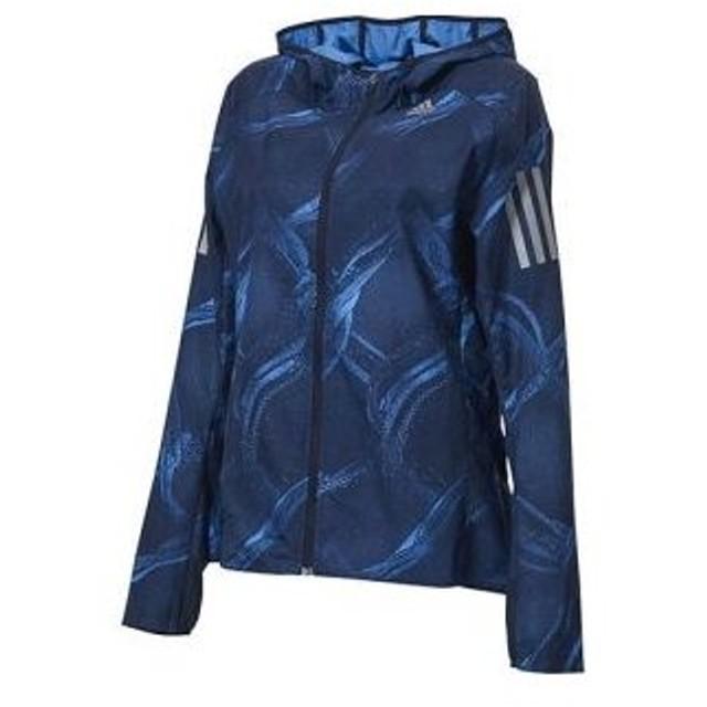 アディダス adidas オウン ザ ラン グラフィックジャケット レディース リアルブルー×カレッジロイヤル×レジェンドインク S FTZ39
