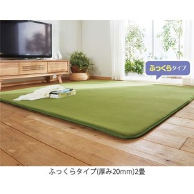 吸湿発熱厚みが選べるふわふわあったかラグ ふっくらタイプ(厚み20mm)3畳 グリーン