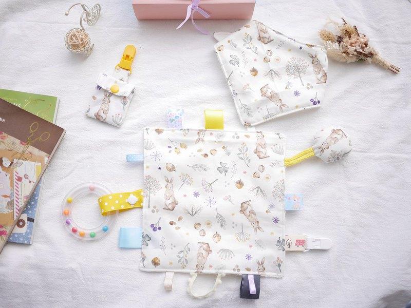 彌月禮盒 安撫巾 六重紗三角口水巾 平安符袋 兔兔款