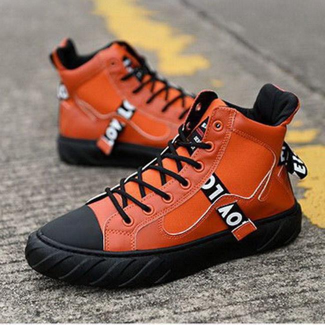 FOFU-帆布鞋韓版時尚嘻哈潮鞋高筒拼接帆布鞋【09S2424】