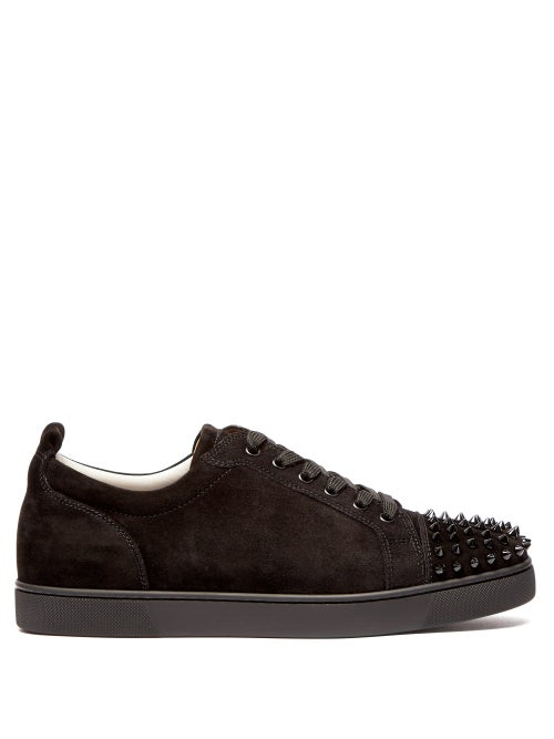 Christian Louboutin - Louis Junior Suede Studded Trainers - Mens - Black