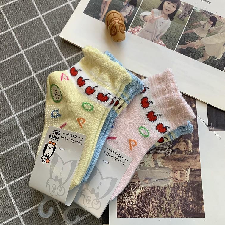PAPPA WOCKS 防滑蘋果寶寶襪 一包兩雙 男女 買5送2 台灣製 精梳純棉 童襪 寶寶襪 抗菌襪 嬰兒襪 止滑襪