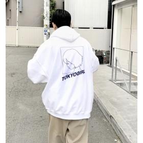 【フーズフーギャラリー/WHO'S WHO gallery】 【東京ガール】スーパービッグシルエット/バックプリントクルースウェット/パーカー