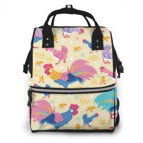 楽しい鶏 ミイラ袋 マザーズバッグ バックパックマザーズリュック おむつバッグ 旅行 多機能 大容量 人気