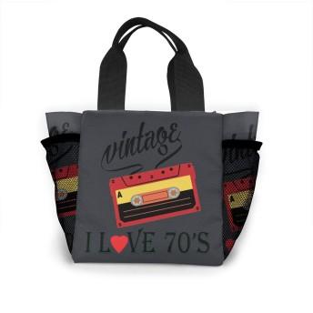 I Love 70's レディース 収納トートバッグ ハンドバッグ ショルダーバッグ 男女兼用 大容量 オフィス 通勤 通学 ビジネス 出張 遠足