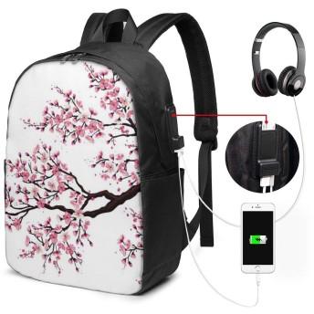 ビジネスリュック,桜の木 PC バックパック リュック USB充電ポ ビジネスリュック レジャーバックパック 旅行リュック多機能 大容量 通勤