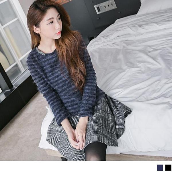 《DA2207-》假兩件混紡毛料下襬格紋長版洋裝/上衣 OB嚴選
