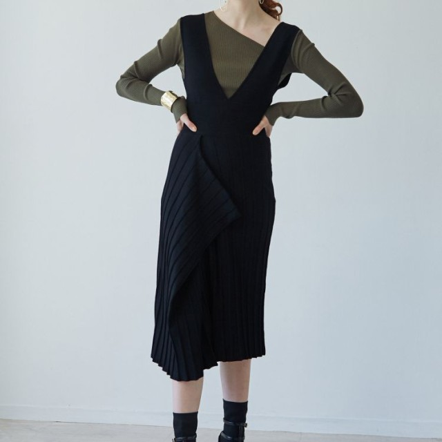LAGUNAMOON(ラグナムーン)/アシンメトリーヘムニットジャンパースカート