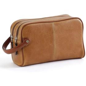オールドレザー調 日本製 セカンドバッグ[豊岡かばん ] ダブルファスナー ビンテージタイプ メンズ 誕生日プレゼント (キャメル)