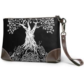バッグ ユグドラシルの生命の木 クラッチバッグ セカンドバッグ 本革 人気 カジュアル 軽量 大容量 高級感 薄い 財布 結婚式 披露宴 フォーマルバッグ
