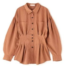 【公式/フリーズマート】ウエストタックチュニックシャツ/女性/ブラウス/ブラウン/サイズ:FR/ポリエステル 90% ナイロン 10%