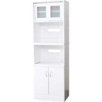 DORIS キッチンラック 台所 収納 スライド収納 鏡面仕上げ スリム 幅58.5cm キッチン収納 棚 木製 ホワイト サブリナ
