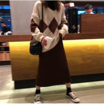 252206ニットワンピースで韓国ファッションを!セットアップ / 【レディースワンピース】☆ニットセットアップ 2点セット!レディース 秋