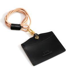 【OMC】義大利植鞣牛皮橫式識別證套悠遊卡套-黑色