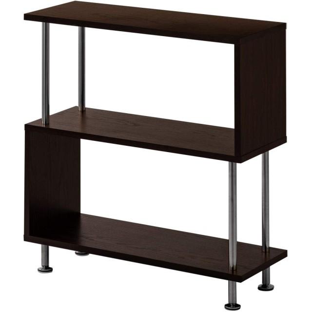 ぼん家具 ディスプレイラック 2段 幅80×高さ84cm 薄型 S字 オープンラック シェルフ 本棚 収納棚 棚 ダークブラウン