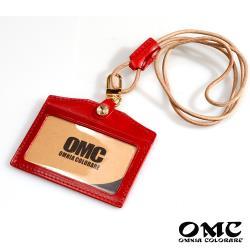 【OMC】歐洲植鞣牛皮橫式識別證套悠遊卡套-紅色