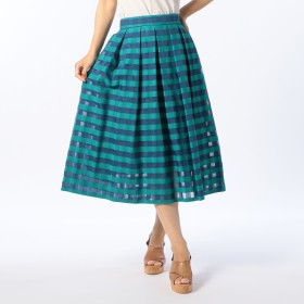 NOLLEY'S(ノーリーズ)/シースルーチェックタックフレアミディスカート