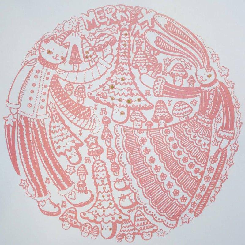粉紅菇菇耶誕樹(絹印版畫)