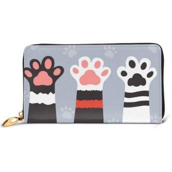 3かわいい猫の足 プレミアムレザーと 金属ジップレザー財布、ファッションレディースウォレットクレジットカードスロットダークリアルレザーウォレット快適で丈夫な防水レザー