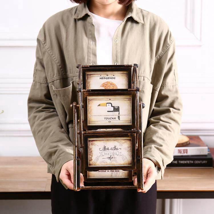 歐式復古旋轉摩天輪相框擺臺創意結婚禮物客廳臥室家居裝飾品擺件