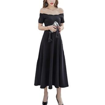 【Assky】Aライン ワンピース きれいめ 着痩せ 半袖 ドレス ワンピース 結婚式 パーティー お呼ばれ レトロ 優雅 ロング丈 サイズS~XL ブラック (M, ブラック)