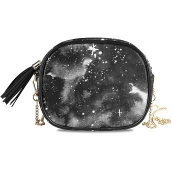 KAPANOU レディース チェーンバッグ,ブラックホワイトギャラクシー水彩イラスト,ミニファッションかわいいデザインショルダーバッグパーソナライズされたカスタムの異なるスタイルの色