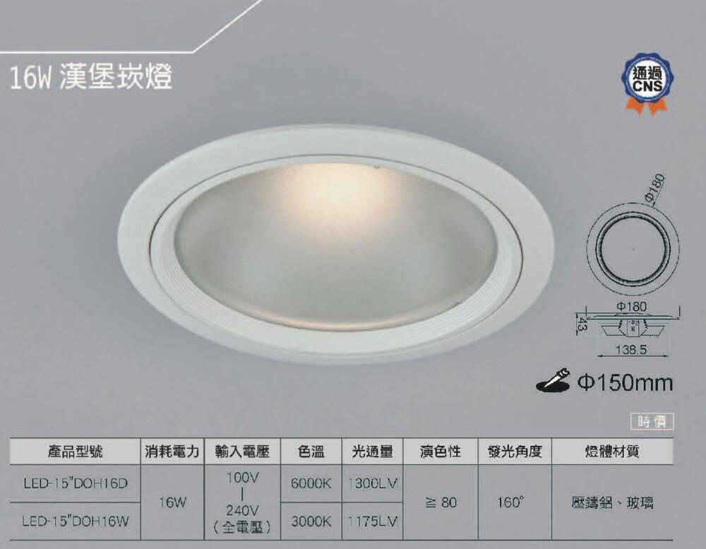 好時光舞光 led 16w 漢堡燈 崁燈 玻璃崁燈 cns認證 崁孔15公分 全電壓