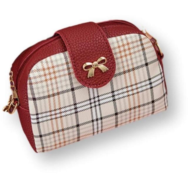 [ユーブーケ] ポシェット レディース 斜めがけ ショルダーバッグ チェーン スマホ 斜めがけミニ プレゼント チェック おしゃれ お財布 軽い 上品 フォーマル 赤 レッド (レッド)