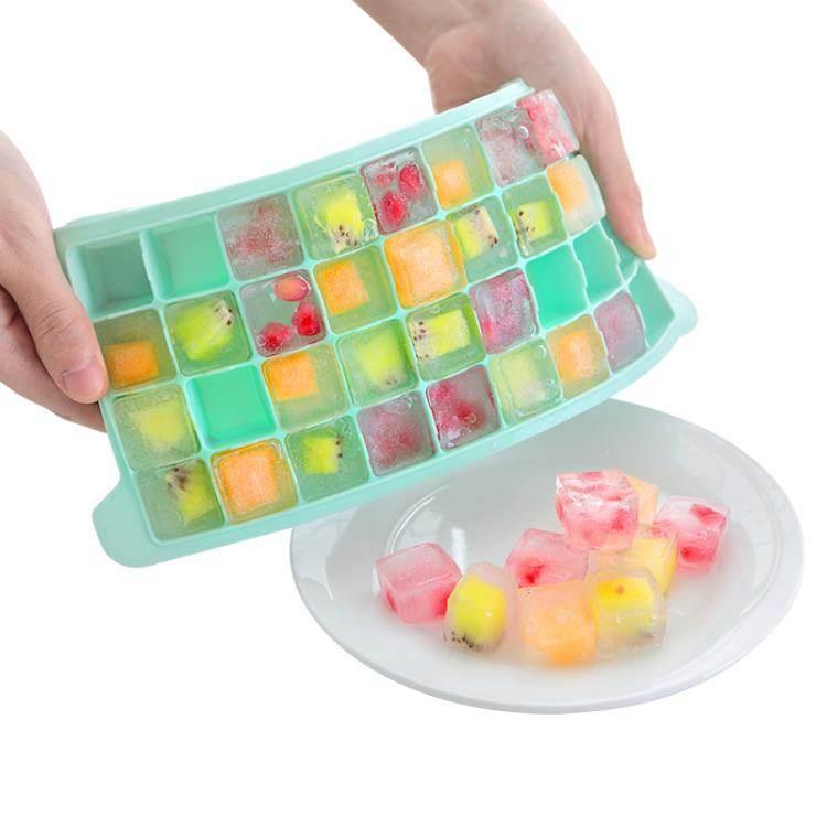 冰塊模具自制冰塊模具硅膠冰格做冰塊盒制冰盒帶蓋家用輔食盒冰凍凍冰磨具