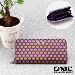 【OMC】8卡1照文藝滿點單拉鍊牛皮長夾(紫色)