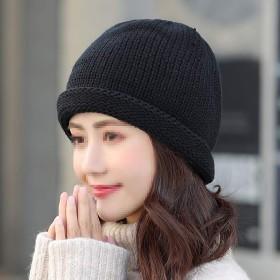 帽子 レディース帽子 帽子の女性の冬ニット帽子ファッションレジャー野生の帽子甘い秋と冬暖かいウールキャップ メンズ帽子 (Color : Black)