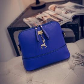 レディースカジュアルショルダーバッグ 女性のバッグステッチ鹿シェルバッグシンプルカジュアルショルダーメッセンジャーバッグ (Color : Blue, Size : Free size)