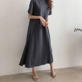 半袖 252206ゆったりとしたフィット感の女性らしいワンピース?リネンワンピース 無地 韓国ファッション リネン 麻混 ロング丈ワンピース