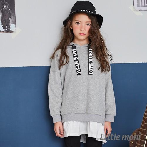 Little moni 連帽織帶拼接長版上衣-灰色/紅色