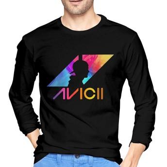 アヴィーチー Avicii ロゴ Tシャツ 長袖 メンズ ロングスリーブ 丸首 無地 綿 カジュアル ゆったり 薄手 4色 大きいサイズ