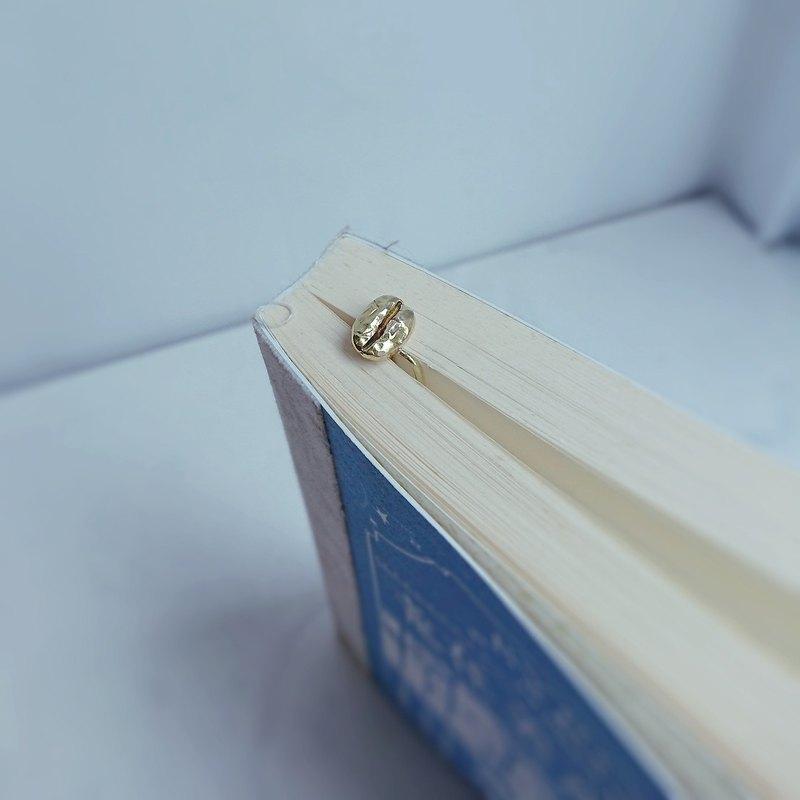 書房系─咖啡豆書籤- 黃銅復古迴紋針書籤