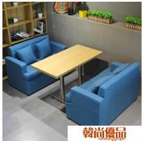餐廳沙發復古西餐廳沙發卡座 酒吧飯店餐飲奶茶店雙人布藝咖啡廳桌椅組合 聖誕節LX