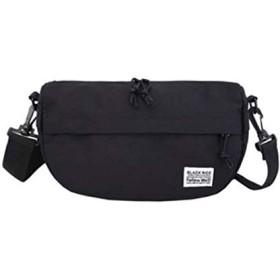【ブラック】 メッセンジャーバッグ 斜め掛け キャンバス 帆布 軽い バック カバン ショルダーバッグ ボディバッグ ウエストバッグ
