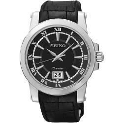 SEIKO Premier 新古典大視窗日曆男錶-黑(SUR015J2)